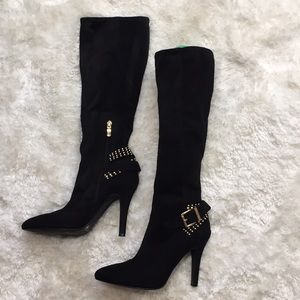 BCBG Black Gold Stud Soft Knee High Heeled Boots